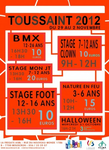 stages, jeunes, frégate, mouscron, toussaint, 2012, nature, feu, foot, sport, atelier, créatif, automne, football, jt, journal, caméraman, photographe, présentateur, bmx, vélo, street, flat, vélo, bunny up, sketch, clown, drole, humour,